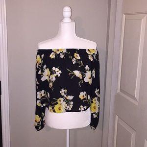 Elegant crop top shoulders off blouse 3/4 sleeves